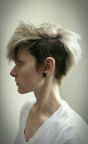 short hair undercut pixie shaved sides silver brunette hairstyle