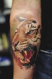 adorable lovely tiger on arm tattoomagz