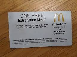 mcdonalds gift card discount mcdonalds free combo meal voucher giftcard discount coupon value