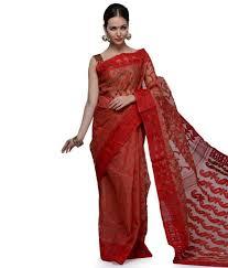 dhakai jamdani saree online samayra and brown color muslin cotton dhakai jamdani saree