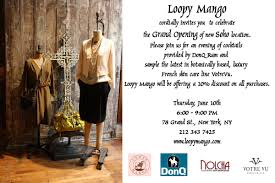 boutique inauguration invitation loopy mango announces grand opening of new location in soho