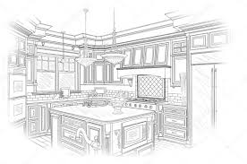black custom kitchen design drawing on white u2014 stock photo