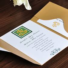 affordable pocket wedding invitations gold and green pocket wedding invitations ewpi022 as low