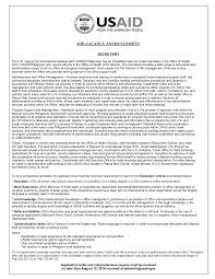 Resume With Salary Requirement Vacancy Announcement 2016 07 Secretary Fsn 07 Office Of Health