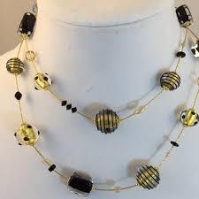 black glass necklace images Verona murano glass necklace black gold murano glass jewelry jpg