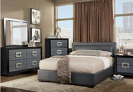 gray bedroom sets city view gray 7 pc king upholstered bedroom platform contemporary