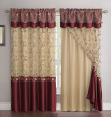 Sheer Maroon Curtains 2 Panel Window Curtain Drapery Set Layer Solid Color Back