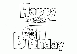happy birthday with gift card coloring page for kids holiday