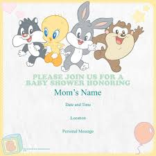 baby looney tunes baby shower decorations looney tunes personalized baby shower invitations set of 25