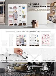 Freestanding Designer Shelves by Amazon Com Langria 12 Storage Cube Organizer Wardrobe Modular