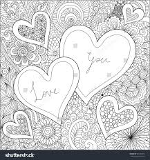 hearts on flowers coloring books stock vector 549350476