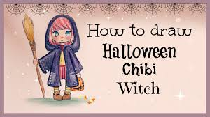 drawing tutorial how to draw and color halloween chibi witch