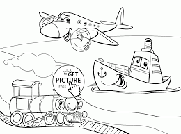 funny cartoon transportation coloring page for kids coloring