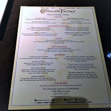 new cheesecake factory menu for 2017