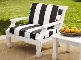 decor cool stripped black and white patio chair cushion for white