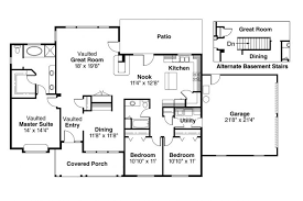 House Plans Country Front View House Plans 1 Story House Plans With Large Kitchens And