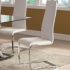Office Dining Furniture by Amazon Com White Faux Leather Dining Chairs With Chrome Legs