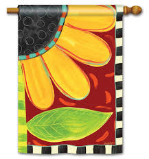 Whimsical Sunflower House Flag  Fall BreezeArt Flags