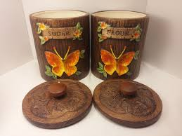 vintage treasure craft kitchen ceramic canister set with hand