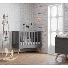 chambre bebe grise lit bébé 120 nature gris vox