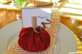 velvet pumpkin place card holder thanksgiving table balancing