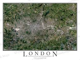 Map Of London England by London England Satellite Map Print Aerial Image Poster
