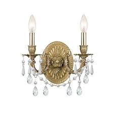 Crystal Candle Sconce Brass Antique Satin Wall Sconces Bellacor