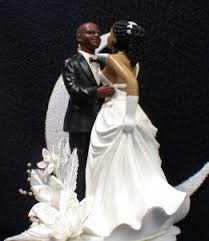 black wedding cake toppers bald hispanic black american groom and wedding