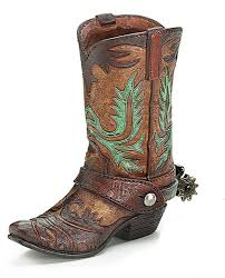 Western Style Centerpieces by Burton Western Cowboy Boot Vase Cowgirl Flower Rustic Resin Burnt