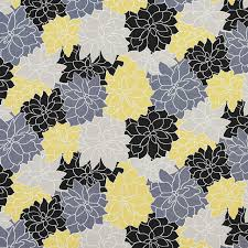 Indoor Outdoor Fabric For Upholstery Black Grey And Yellow Contemporary Flowers Outdoor Upholstery