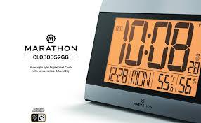 lighted digital wall clock amazon com marathon cl030052gg atomic digital wall clock with auto