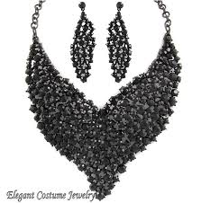 black costume necklace images Elegant jet black crystal formal necklace jpg