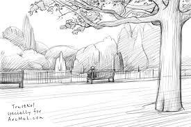 how to draw a park step by step arcmel com