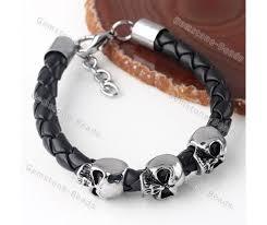 bracelet men skull images Mens skull black leather bracelet cuff punk biker hard rock heavy jpg