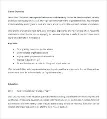 resume objective exles for highschool students student resume exles exle of high student resume