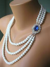 sapphire pearl necklace images Sapphire necklace pearl necklace mother of the bride great jpg