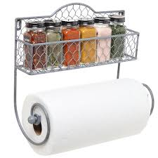 Wrapping Paper Wall Mount Amazon Com Wall Mounted Rustic Gray Metal Kitchen Spice Rack