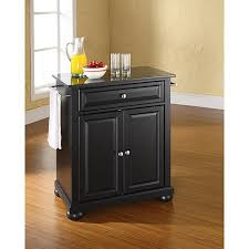crosley alexandria solid black granite top portable kitchen island