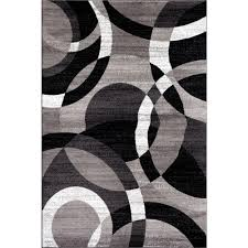 Modern Black Rugs World Rug Gallery Contemporary Modern Circles Abstract Gray 3 Ft