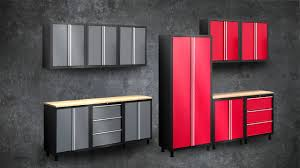 gray and red color painted metal garage storage cabinet door gray and red color painted metal garage storage cabinet door design with wood countertop table ideas