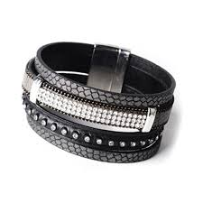 leather rhinestone bracelet images Mixed media leather and suede black multi strand cuff wrap jpg
