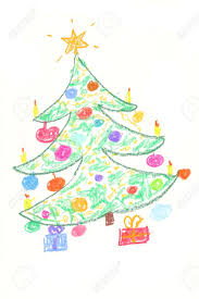 beautiful decorated christmas tree with gifts drawing by