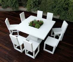 Exterior  Exterior Minimalist White Outdoor Dining Table Set Cool - Modern outdoor sofa sets
