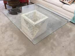 coffee table contemporary glass rectangular stone by base 11537 90