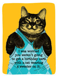 sweater cat card birthday greeting card justwink cards