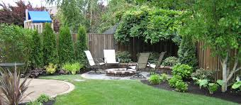 decor small yard design with fire pit and chairs also pavers