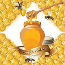 honeycomb ribbon jar of honey with wooden dipper bees and ribbon background