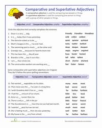 adjectives that compare worksheets grammar worksheets and english