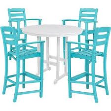Nassau Outdoor Furniture by Hanover Nassau 5 Piece All Weather Round Patio Bar Height Dining