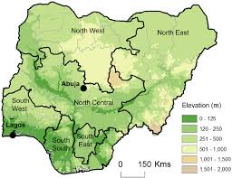 nigeria physical map map of nigeria and its geopolitical zones central benue